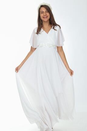 Işşıl 6073-kruvaze Yaka Bolero Kol Maxi Baby Shower Elbise