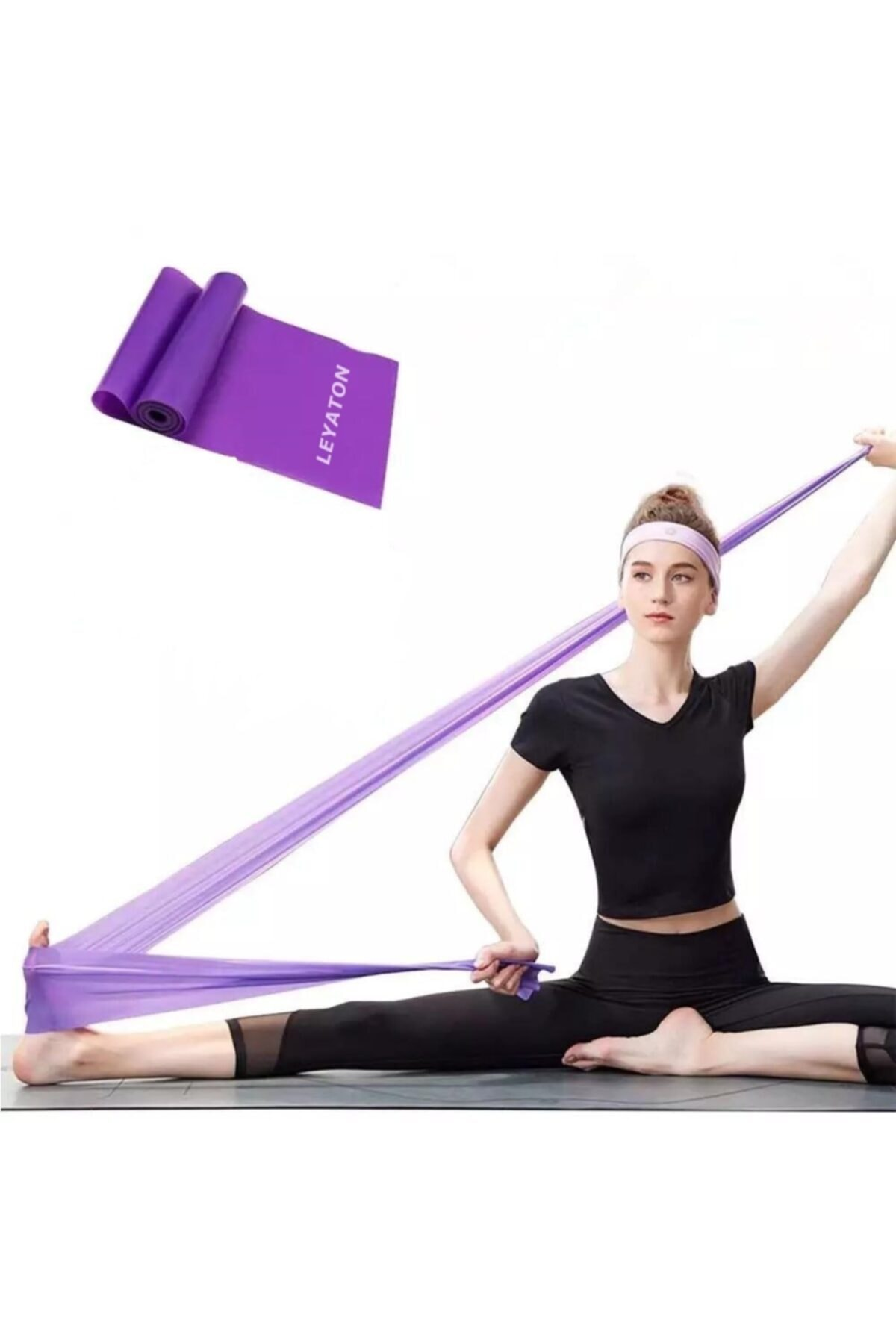 Leyaton Pilates Bandı Jimnastik Plates Lastiği 150x15 cm Egzersiz Aerobik Bant 1 Adet Mor 2