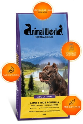 Animal World Adult Dog Kuzu Etli Ve Pirinçli Köpek Maması 15 Kg