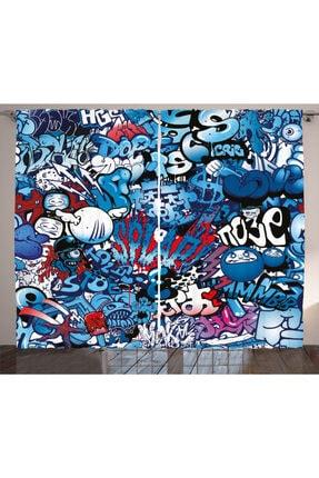 Orange Venue Eğlenceli Perde Mavi Grafiti Desenli