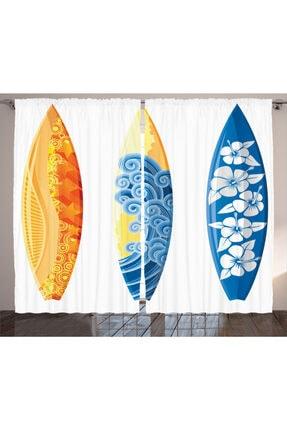 Orange Venue Deniz Ve Okyanus Perde Sörf Tahtası Desenli