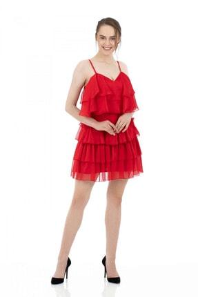6ixty8ight Kırmızı Şifon Katkatlı Janjan Kısa Abiye Elbise