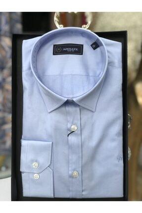 Abbate Erkek Gömlek Slim Fit Uzun Kollu Cepsiz Mavi