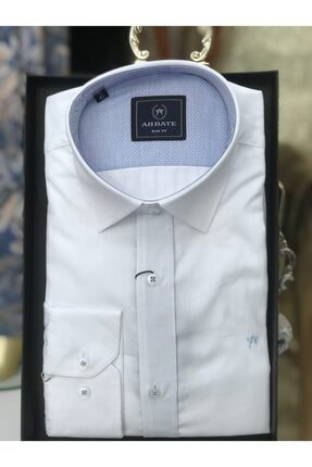 Abbate Erkek Gömlek Slim Fit Uzun Kollu Cepsiz Beyaz
