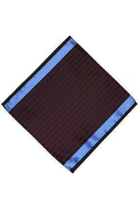 Kravatkolik Bordo - Mavi Çizgi Desen Ceket Mendili Km424