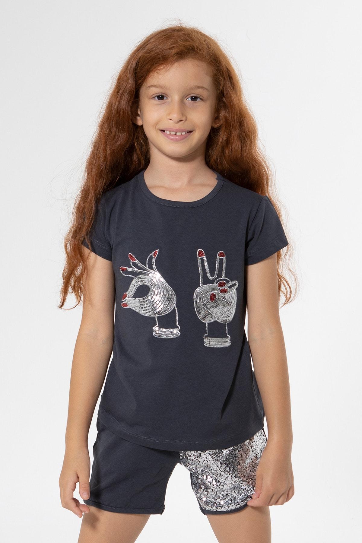 Colorinas Kız Çocuk Antrasit Hand Payetli Tshirt 1