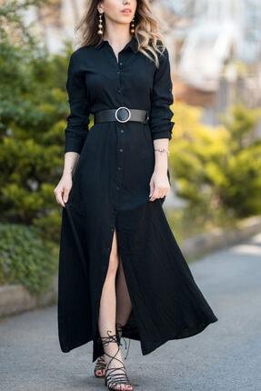 XHAN Kadın Siyah Gömlek Elbise 8YXK6-30386-02