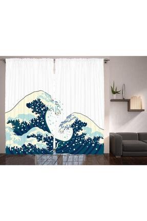 Orange Venue Deniz ve Okyanus Perde Geleneksel Japon Çizimli Rengirenk
