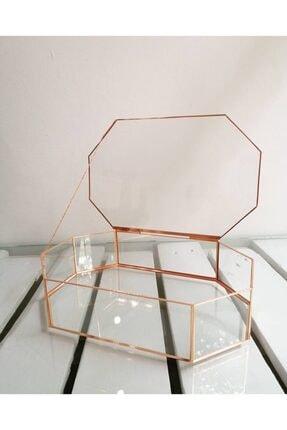 RESİTAL Şeffaf Gold Geometrik Model Cam Makyaj Kutusu