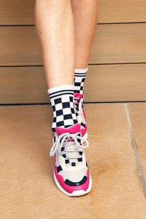 Ayakkabı Modası Fuşya Gri Kadın Spor Ayakkabı 5003-20-101002