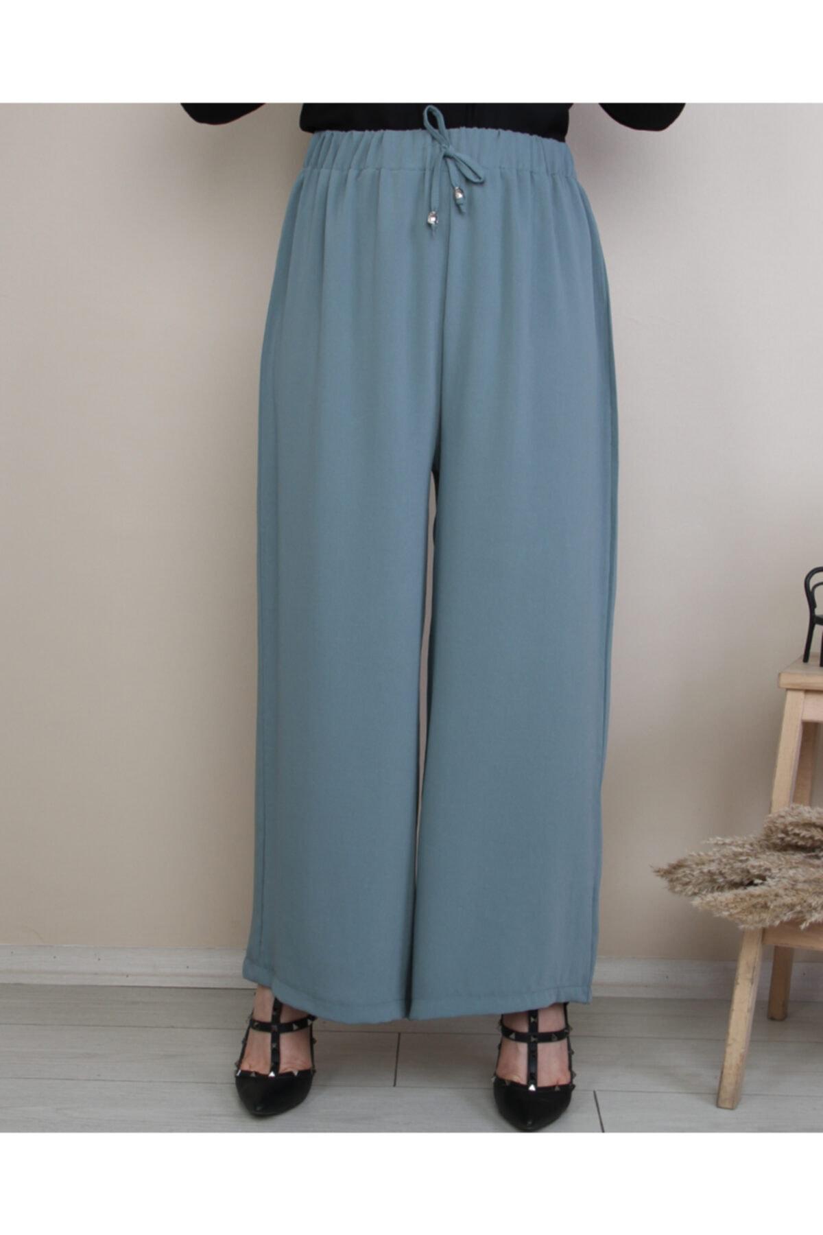 Hüma Sultan Beli Lastikli Ip Detaylı Bol Paça Dökümlü Pantolon 1