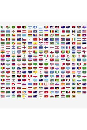 KT Decor 288 Adet Ülke İsimleri Ve Bayrakları Mega Set Duvar Sticker