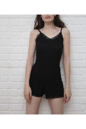 Amazoons Kadın Siyah Askılı Şortlu Dantel Detaylı Pijama Takımı