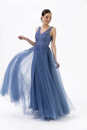 By Saygı V Yaka Güpür Prenses Abiye Mavi