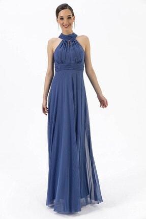 By Saygı Boyun Bağlamalı Uzun Tül Abiye Elbise Mavi