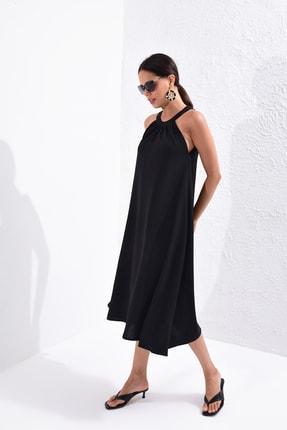 Cool & Sexy Kadın Siyah Halter Yaka Salaş Elbise B129