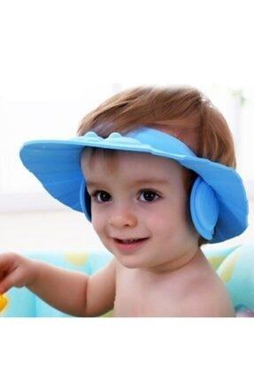 Skygo Bebek Banyo Şapkası Düğmeli Kulaklıklı Mavi
