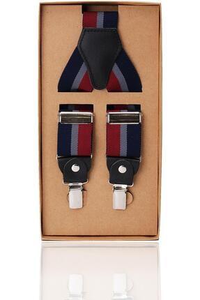 Kravatkolik Lacivert - Bordo Renk Deri Bağlantılı Erkek Pantolon Askısı Pan51