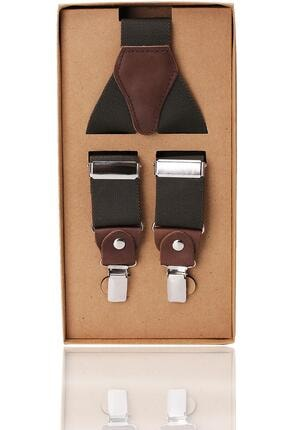 Kravatkolik Haki Renk Deri Bağlantılı Erkek Pantolon Askısı Pan38
