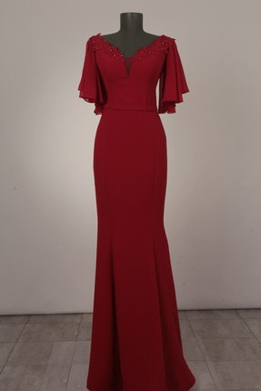 Mileny Kadın Kırmızı Kayık Yaka Dantel Detaylı Uzun Abiye Elbise