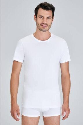 Kom Erkek Beyaz Hulio Bisiklet Yaka 2'li T-shirt
