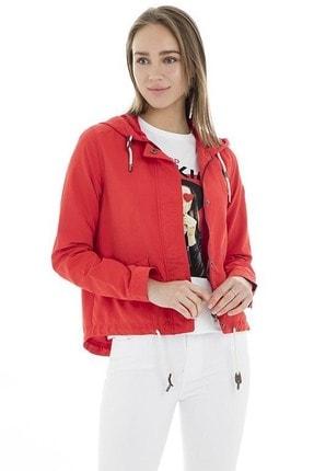 Only Kadın Kırmızı Kapüşonlu Fermuarlı Ceket 15167856