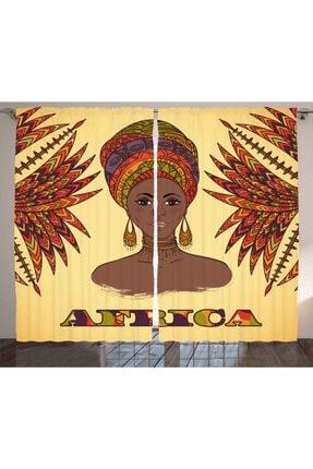 Orange Venue Etnik Perde Güzel Afrikalı Kadın