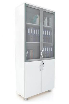 ELİZZA Modüler Dünyası - 2 Cam Kapaklı Kitaplık Dosya Dolabı Beyaz - 80x38x188