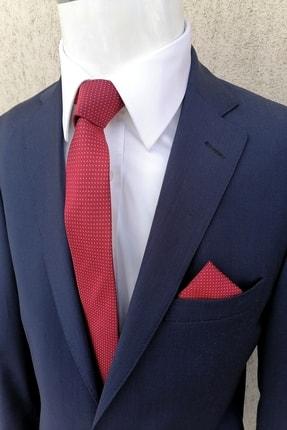 Kravatistan Erkek Kırmızı Desenli Kravat Mendil Seti