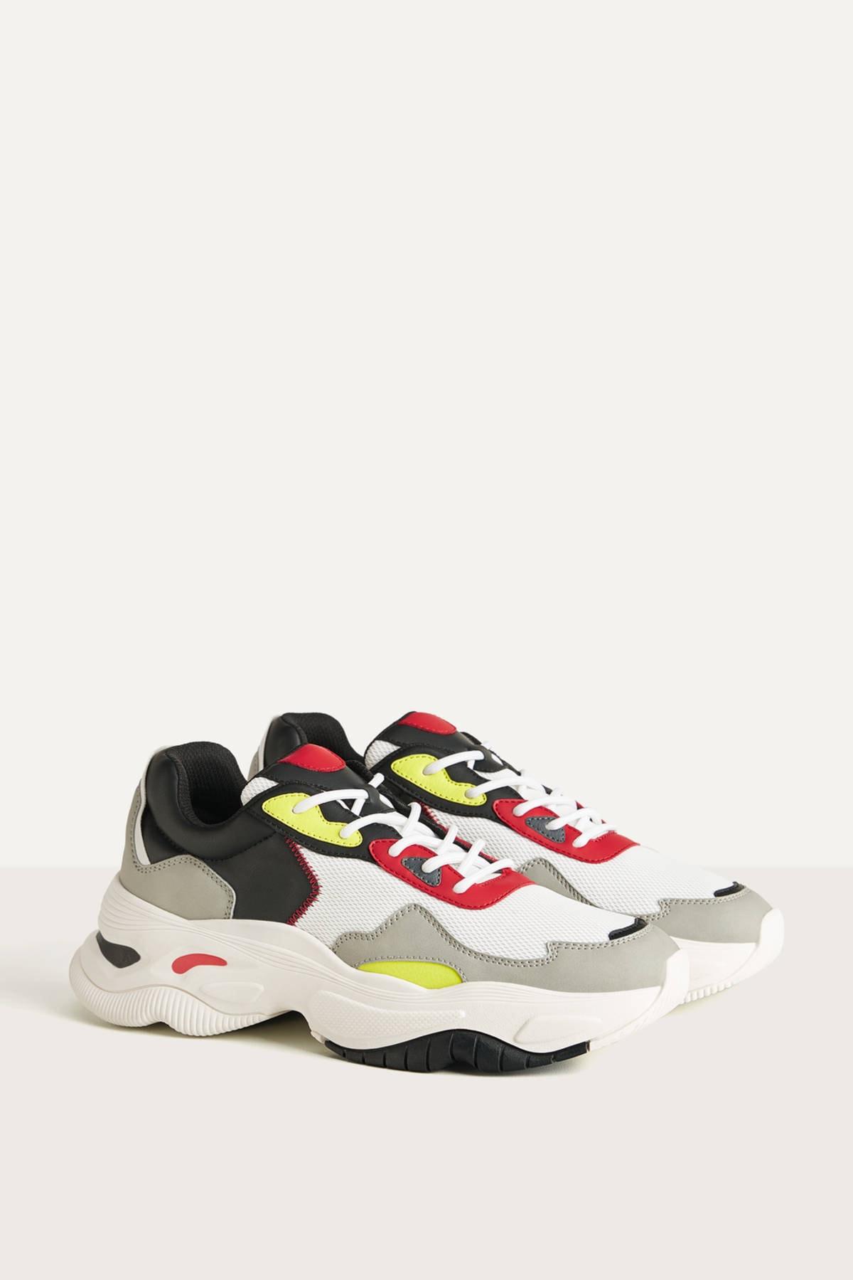 Bershka Erkek Diğer Kontrast Çok Renkli Spor Ayakkabı 12303660