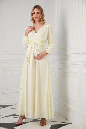 Görsin Hamile Kuşak Detaylı Hamile Sarı Elbise