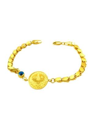 Tekin Gold Pullu Zincirli Yarım Reşat Altınlı Bileklik