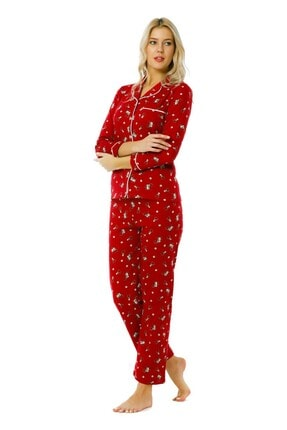 walkie Xmas Geyikli Kırmızı Pijama Takımı