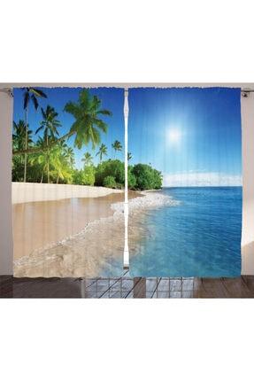 Orange Venue Tropikal Perde Kumsalda Güneşli Bir Gün