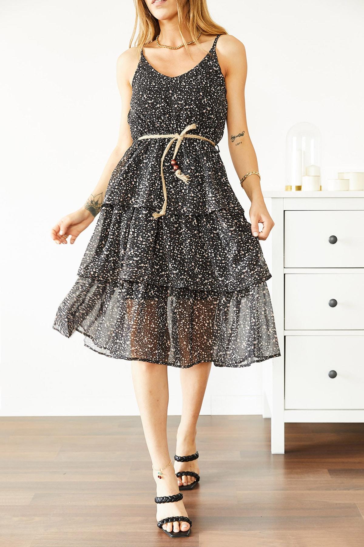XHAN Kadın Siyah Askılı Desenli Şifon Elbise 0YXK6-43866-02 8699443866021