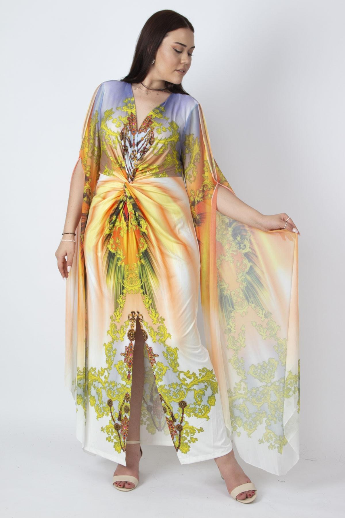 Şans Kadın Renkli Kolları Tül Detaylı Renkli Abiye Elbise 65N16788 2
