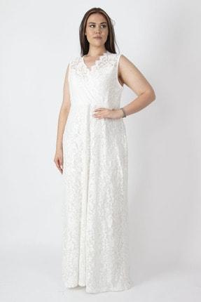 Şans Kadın Kemik Anvelop Yakalı Astarlı Dantel Elbise 65N16851