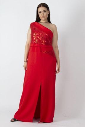 Şans Kadın Kırmızı Tek Omuzlu Payet Detaylı Uzun Abiye Elbise 65N16785