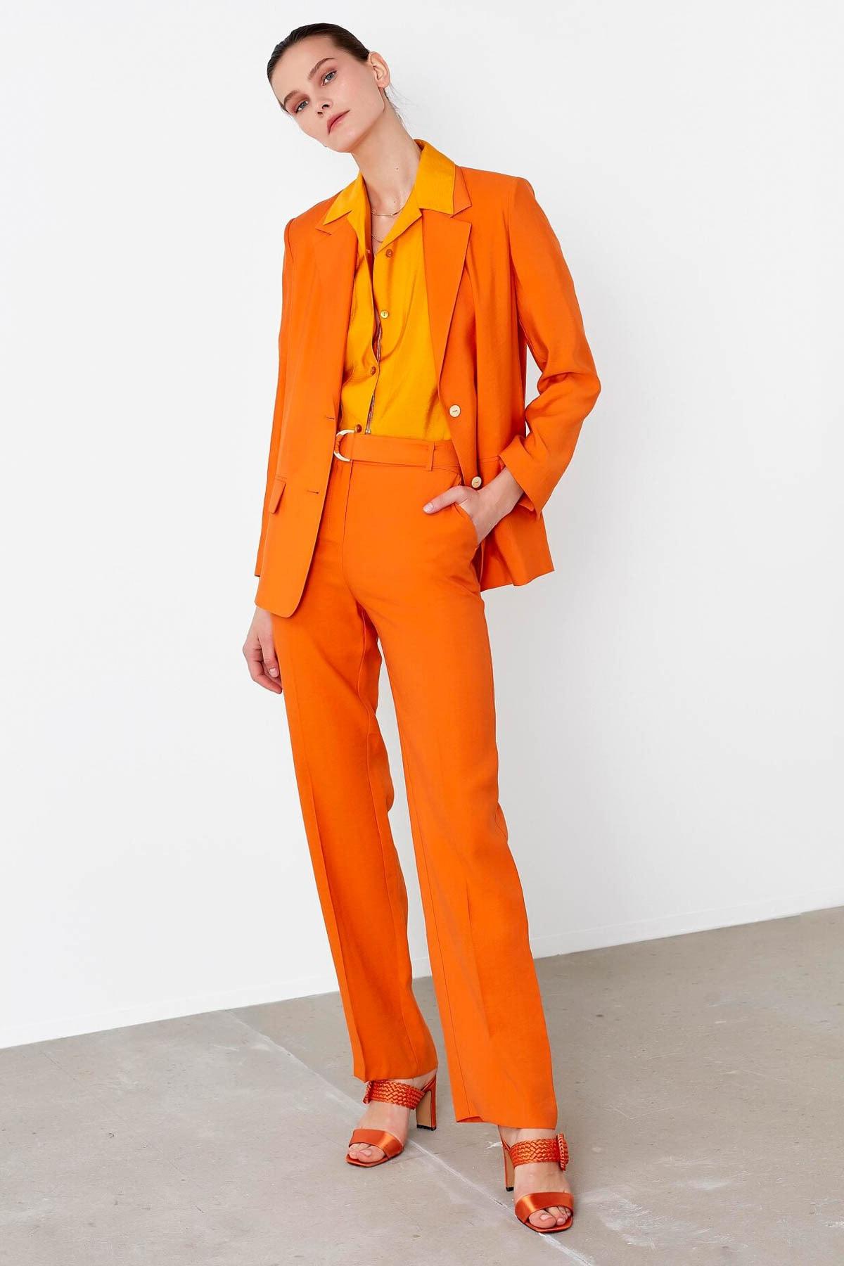 İpekyol Kadın Turuncu Kemerli Yüksek Bel Pantolon IS1200003151162 1