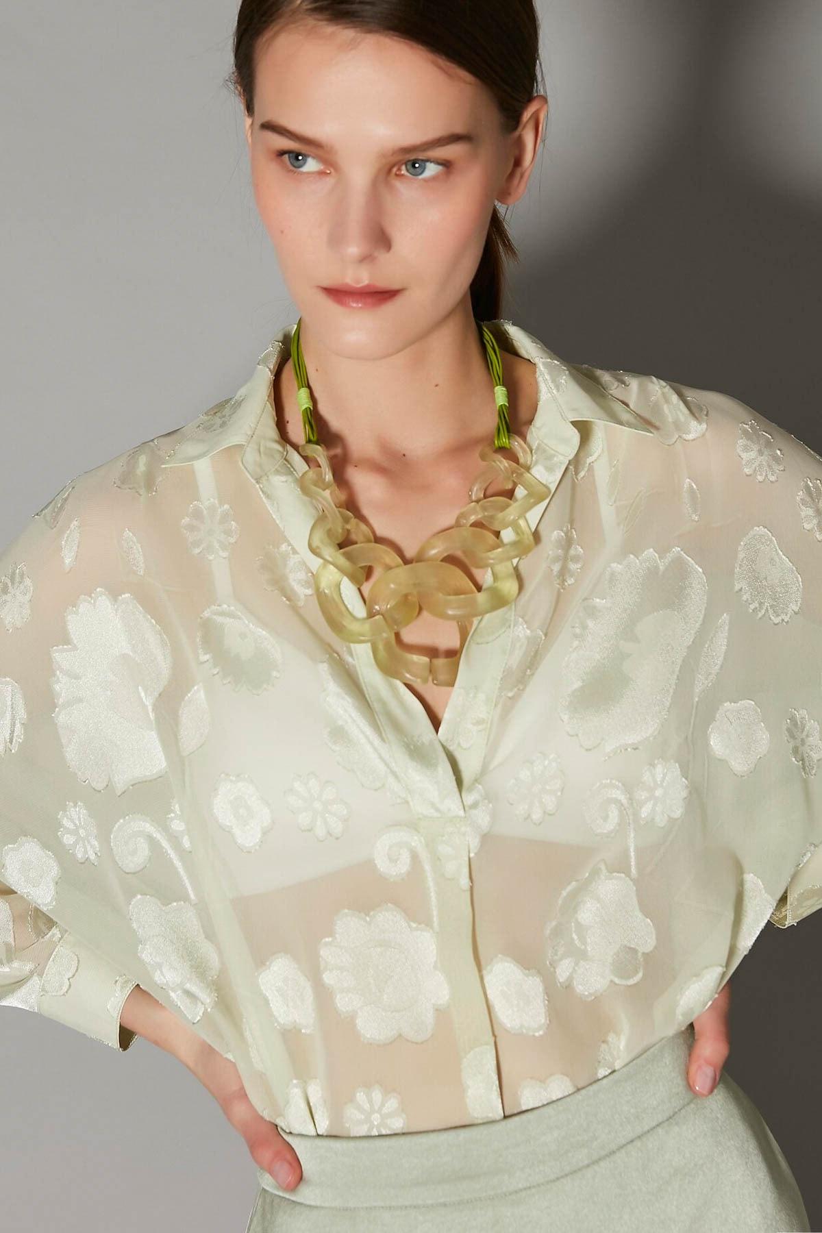 İpekyol Kadın Yeşil Over Size Transparan Gömlek IS1200025123011 2