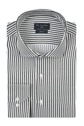 D'S Damat Erkek Slim Fit Gömlek Siyah 4HF02ORT08185_001