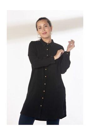 RMG Kadın Siyah Viskon Gömlek 6877