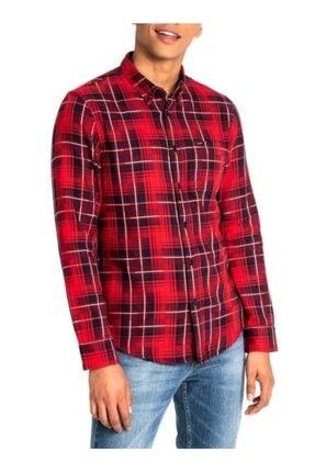 Lee Erkek Kırmızı Kareli Button Down Regular Fıt Gömlek