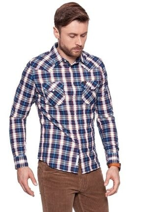 Lee Erkek Mavi Kareli Western Slım Fıt Gömlek
