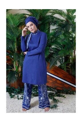 Mayovera Kadın Mavi Büyük Beden Mayo