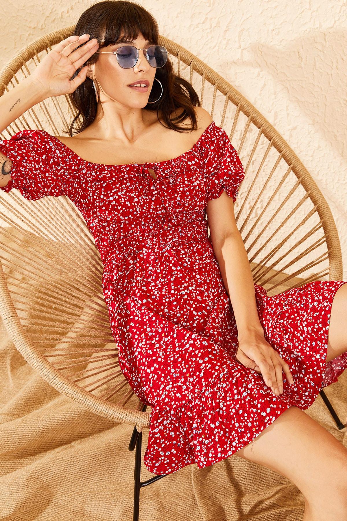 Bianco Lucci Kadın Kırmızı Gipeli İp Askılı Küçük Çiçek Desenli Elbise 10091046