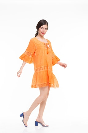 Maldia Dantel Detaylı Ispanyol Kol Italyan Elbise