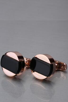 Kravatkolik Bronz Renk Siyah Taşlı Yuvarlak Kol Düğmesi Kd1252