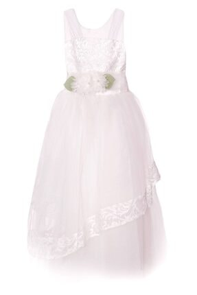AcarKids Kız Çocuk Beyaz Elbise Çiçek Aplikeli Tüllü 6-10 Yaş
