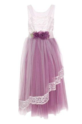 AcarKids Kız Çocuk Mor  Elbise Çiçek Aplikeli Tüllü 6-10 Yaş